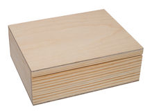Closed raw wooden box for small items. Royalty Free Stock Photography