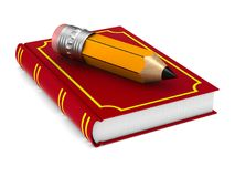 Closed red book and wooden pencil on white background. Isolated royalty free illustration