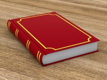 Closed red book on wooden surface. 3D illustration stock illustration