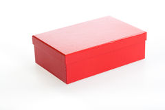 Closed red box. Red carton box viewed from top/side Royalty Free Stock Photography