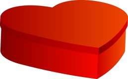 Closed red box in heart shape. On white background. For your valentines day or love presents design Royalty Free Stock Photos