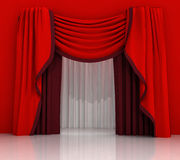 Closed red curtain scene Royalty Free Stock Photo