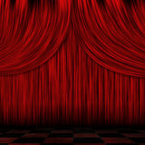 Closed red curtains Stock Photos