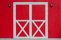 Closed red door Royalty Free Stock Images
