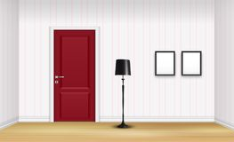 Closed red door with floor lamp and frames on striped wall. Illustration of Closed red door with floor lamp and frames on striped wall background Stock Photography