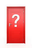 Closed Red Door with question mark Royalty Free Stock Photo