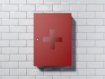 Closed red first-aid kit. 3d rendering. Closed red first-aid kit on a white tiled wall. 3d rendering Royalty Free Stock Image
