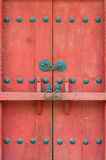Closed red gate with a bar Royalty Free Stock Images