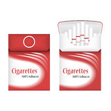 Closed red pack of cigarettes. Open pack of cigarettes. Cigarettes pack icon. Cigarettes pack  illustration Stock Photo