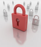 Closed red padlock Royalty Free Stock Image