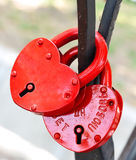 Closed red padlock Stock Image