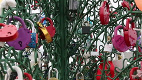 Closed red padlocks in the form of heart. stock footage