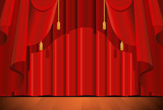 Closed red stage curtain Royalty Free Stock Photos