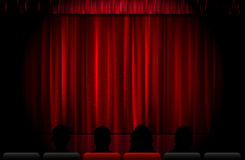 Closed red stage curtain Royalty Free Stock Image
