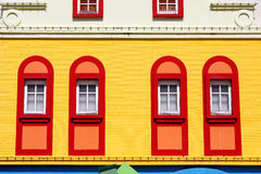 Closed red window Stock Photography