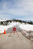 Closed road. In winter due to the snow in Epirus, Greece royalty free stock photo