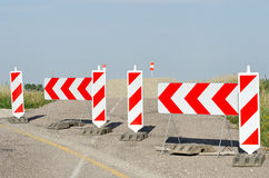 Closed road. A closed road marked with signs royalty free stock photos