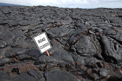 Closed Road Due to Lava Flow. On the Big Island of Hawaii stock photos