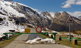 Closed road in the mountains. Closed road in the French Pyrenees mountains stock photo