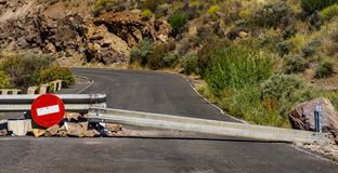 Closed road in the mountains of Gran Canaria. Spain stock photo