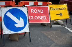 Closed road sign stock images