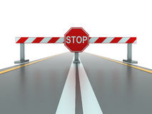 Closed road with stop sign Royalty Free Stock Image
