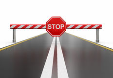 Closed road with stop sign (clipping path included) Stock Photography