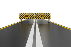 Closed road with stop sign (clipping path included) Stock Image