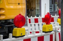 Closed road to repair. On the street background blue building construction control danger electric emergency energy equipment excavator factory fence fire gas stock photography