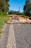 Closed road. A road closed from a washout Royalty Free Stock Photo