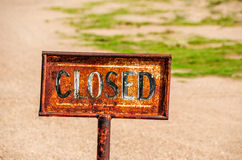 Closed and Rusty Sign Royalty Free Stock Photo