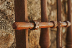 Closed rusty on an wooden door Royalty Free Stock Images