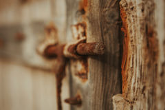 Closed rusty on an wooden door Stock Images