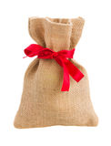 Closed sack bag with red bow Stock Photography