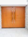 Closed safe exit wooden door Stock Photos