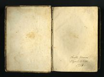 Closed seamless image of old yellowed sheet of paper with dark spots and a facsimile of the inscription. Stock Image
