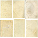 Closed seamless image of a sheet of old yellowed paper with dark brown spots, traces of time. Stock Photo
