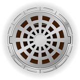 Closed sewer pit with a hatch vector illustration. On white background Royalty Free Stock Photography