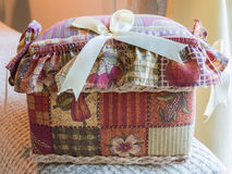 Closed sewing textile box Royalty Free Stock Photo