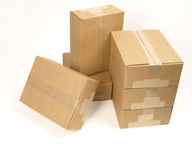 Closed shipping boxes quarter view Stock Photos