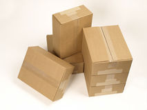 Closed shipping boxes top view Stock Photos
