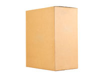 Closed shipping cardboard box isolated Royalty Free Stock Photo