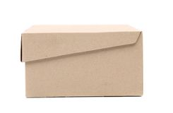 Closed shipping cardboard box isolated Stock Images