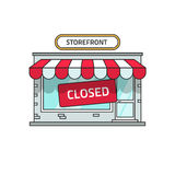 Closed shop building vector, store font view with close sign. Closed shop building vector illustration, store font view with closed sign, flat cartoon storefront vector illustration