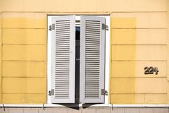 Closed shutter house. Closed new wooden shutter on a house Royalty Free Stock Image