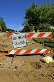 A `Closed Sidewalk` in a construction Zone Royalty Free Stock Photography