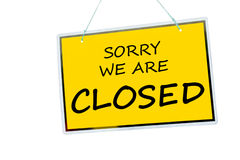 Closed sign. Sorry we are closed sign hanging isolated on a white background royalty free stock photography