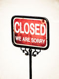 Closed sign (4). Old sign, words closed we are sorry stock images