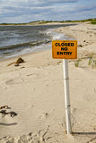Closed Sign on Beach Stock Photography
