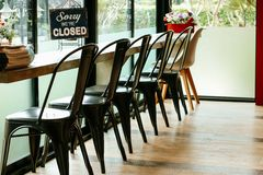 Closed sign board at coffee shop. Closed sign board in the coffee shop Royalty Free Stock Photos
